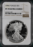 Pf70 Ucam 1996-p American Silver Eagle - Brown Label Ngc Spot Free White