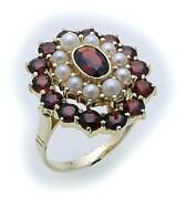 Women's Ring M.granat And Beads In Gold 585 Yellow Gold Garnet Ring 8913/5gr.zp