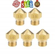 5pcs 3d Printer Extruder Brass Nozzle Mk10 M7 .4mm Head For 1.75mm Abs Pla