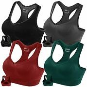 Racerback Sports Bras For Women- Padded Seamless Small Black/grey/green/red