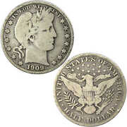 1909 Barber Half Dollar Vg Very Good 90 Silver 50c Us Type Coin Collectible