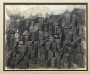 Vintage 70s Abstract Geometric Shapes Buildings Mixed Media Painting Modern Art