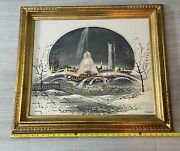 Oropeza Gold Frame Gilded Oil Painting On Canvas Of Buckingham Fountain Signed