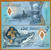 Cook Islands 3 2021 Naked Ina And A Shark P-new Polymer Unc Za - Replacement