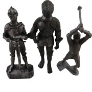 Lousi Marx And Co. Mcmlxiv Vintage Knights Toy Figurines Set Of 3 Silver 02612