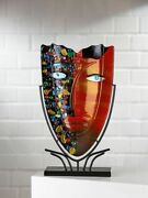 Giant Luxurious Celebration To Picasso Art Glass Face Vase On Metal Stand 47cm
