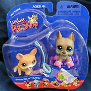 Littlest Pet Shop Great Dane 184 W/skates And Tan Corgi 183 In Unopened Package