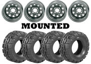 Kit 4 Deestone Trail Crusher Tires 25x10-12 On Itp Delta Steel Silver Wheels Wct