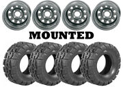 Kit 4 Deestone Trail Crusher Tires 25x10-12 On Itp Delta Steel Silver Wheels Act