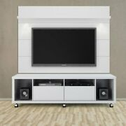 Rolling Led Tv Stand Floating Wall Panel Flat Mount Media Screen Wood Furniture
