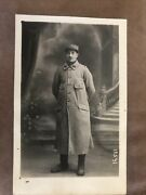 Wwi French Soldier/officer Rppc Wearing Long Coat