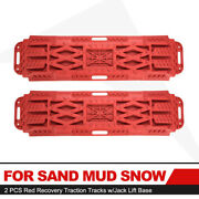2 Pcs Red Recovery Traction Sand Tracks Tire Ladder W/jack Lift Base Snow Track
