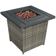 Bestchoiceproducts Fire Pit Table Outdoor Heater 50k Btu 28 Square Gray Wicker