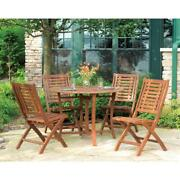 Outdoor Interiors Patio Dining Table Eucalyptus Wood 43 Round Brown Umber Stain