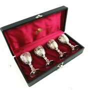 Corbell And Co Antique Silver Plate Vintage Wine Goblets Set Of 4 02654