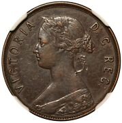 1873 Canada Newfoundland Large 1 One Cent Bronze Coin - Ngc Xf 40 Bn - Km 1