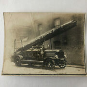 Early Antique Leyland Fire Truck Firefighting Aparatus Photo Photograph Cardiff