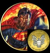 Superman Silver Eagle Ounce Oz / Full Color 24k Gold And Capsule Is Included