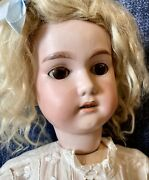 """Antique 23"""" German Bisque Cm Bergmann Doll W/mohair Wig And Great Outfit"""