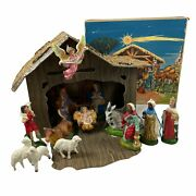 Nativity Set Vintage 1960s Creche Made In Italy Chalkware Figures Box And Stable