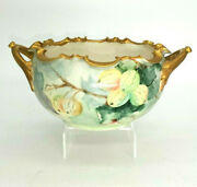 Belleek Willets Hand Painted Gold Trim Bowl Signed By Hobbiest Mary King Ca.1900