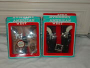 2 Esquire Novelty Model 7342 American West Double Cap Gun Holster Toy Set Mib