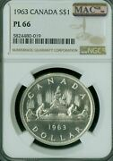1963 Canada Silver Dollar Ngc Pl 66 2nd Finest Mac Spotless