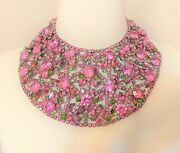 Rare 1960and039s Kenneth Jay Lane Kjl Pink And Green Jeweled Large Bib Necklace