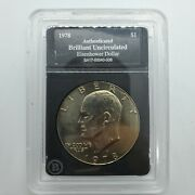 1978 D Authenticated Brilliant Uncirculated Eisenhower Dollar 1 Us Coin 10