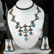 925 Sterling Silver Diamond Turquoise Necklace Set Rose Cut Victorian Look Gift