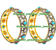 925 Sterling Silver Rose Cut Uncut Real Diamond And Turquoise Bangle Bracelet Pair