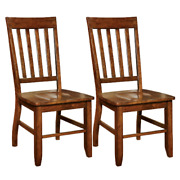 Set Of 2 Traditional Dining Chairs High Slat Back Solid Wood Side Seats Brown