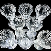 8 Antique Etched Rose Scroll Fostoria Waterford Crystal Wine Goblets 7 Jg14