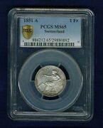 Switzerland 1851-a 1 Franc Silver Coin, Uncirculated, Pcgs Certified Ms-65