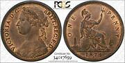 Great Britain Victoria 1874-h Penny Coin Uncirculated Certified Pcgs Ms65-rb
