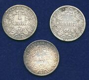 Germany Empire 1906-f, 1908-f, And 1915-a, 1 Mark Silver Coins, Group Lot Of 3