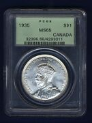 Canada George V 1935 1 Dollar Silver Coin Gem Uncirculated Certified Pcgs Ms65