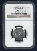 Italy Kingdom 1924-r 50 Centesimi Almost Uncirculated Coin, Ngc Certified Au53