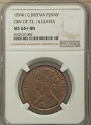 Great Britain Victoria 1874-h Penny Coin Uncirculated Certified Ngc Ms64+bn