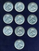 Australia George V 1917-m 1 Shilling Silver Coins Xf Group Lot Of 10 Coins