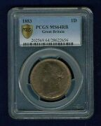 Great Britain Victoria 1883 Penny Choice Uncirculated Certified Pcgs Ms64-rb