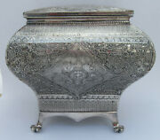 Ornate Silver Plated Bombe Shape Tea Caddy By James Deakin And Son