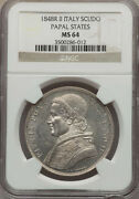 Italy Papal States 1848 1 Scudo Silver Coin Uncirculated Certified Ngc Ms 64