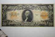 1922 20 Large Size Gold Certificate Yellow Seal Grading Very Fine Jena-274