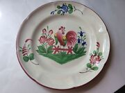 French Faience Saint Clement Rooster And Flowers Plate C.1961
