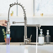 Led Kitchen Sink Faucet Swivel Mixer Tap W/ Pull Down Sprayer Brushed Nickel