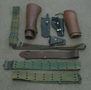 Vintage Leather Bullet And Web Belts Holster Riding Gaiters/spats And Knife Pouch