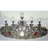 925 Sterling Silver Rose Cut Diamond Antique Style Engagement Hair Tiara Crown