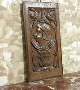 16 Th C Medieval Portrait Carving Panel Antique French Architectural Salvage
