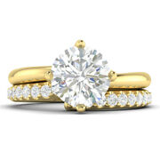 1.38ct D-vs2 Diamond Twist Engagement Ring 18k Yellow Gold Any Size